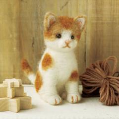 Japan Hamanaka Wool Needle Felting Kit - Brown Cat
