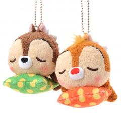 Japan Disney Plush Keychain - Sleeping Chip & Dale Cushion