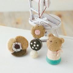 Japan Hamanaka Wool Needle Felting Kit - Cookies Strap & Flower Brooch & Bear
