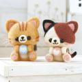 Japan Hamanaka Wool Needle Felting Kit - Calico and Orange Tabby Cats - 1
