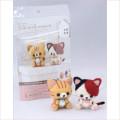 Japan Hamanaka Wool Needle Felting Kit - Calico and Orange Tabby Cats - 5