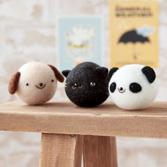 Japan Hamanaka Aclaine Needle Felting Kit - Soft & Squishy Mascot Friendly Puppy Cat Panda Trio