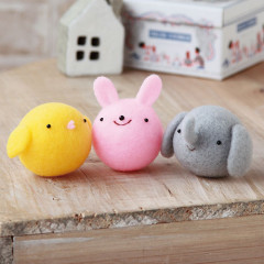Japan Hamanaka Aclaine Needle Felting Kit - Soft & Squishy Mascot Chick Rabbit Elephant Trio