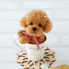 Japan Hamanaka Wool Needle Felting Lesson Kit - Toy Poodle in Cup