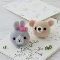 Japan Hamanaka Wool Needle Felting Kit - Rabbit & Bear Straps