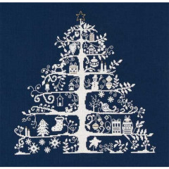 DMC Counted Cross-Stitch Embroidery Kit - Navy Christmas Tree