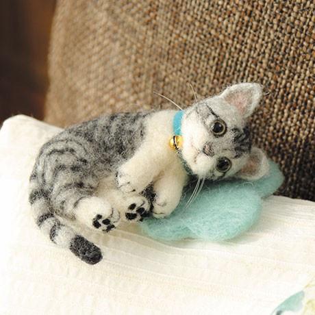 Japan Hamanaka Wool Needle Felting Kit - Grey Tabby Cat - 1