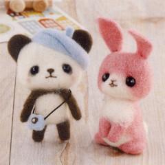 Japan Hamanaka Wool Needle Felting Kit - Beret Panda & Pink Rabbit