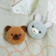 Japan Hamanaka Aclaine Pom Pom Craft Kit - Soft and Fluffy Rabbit and Bear Bonbon Brooch