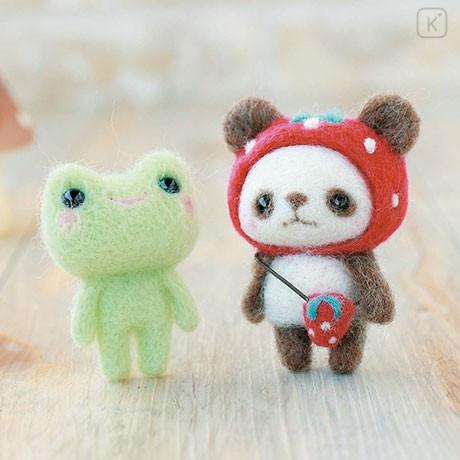 Japan Hamanaka Wool Needle Felting Kit - Strawberry Hat Panda & Frog - 1