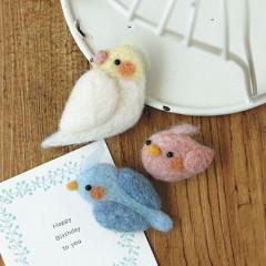 Japan Hamanaka Wool Needle Felting Kit - Chicks Bird & Cockatiel Brooch