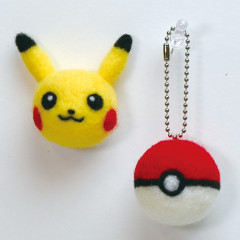 Japan Hamanaka Aclaine Needle Felting Kit - Pokemon Pikachu & Poke Ball