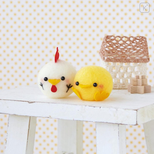 Japan Hamanaka Acliaine Needle Felting Kit - Chick & Chicken Ball - 1