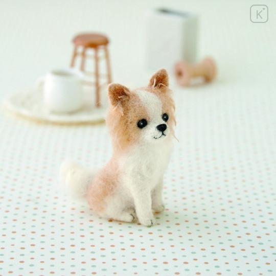 Japan Hamanaka Wool Needle Felting Kit - Long Coat Chihuahua - 1