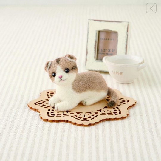 Japan Hamanaka Wool Needle Felting Kit - Scottish Fold Cat - 1
