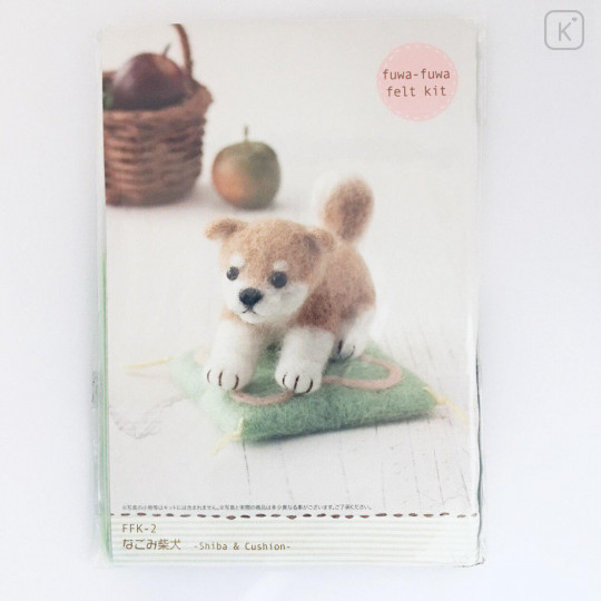 Japanese Wool Needle Felting Craft Kit - Shiba & Cushion - 1