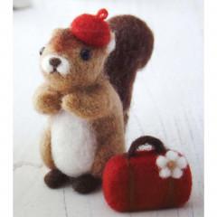 Japanese Wool Needle Felting Craft Kit - Squirrel & Travel Set