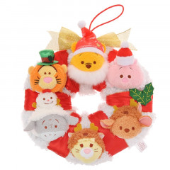 Japan Disney Tsum Tsum Mini Plush - Christmas Wreath Winnie the Pooh & Friends