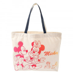 Japan Disney Cotton Tote Bag - Mickey and Friends