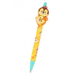 Japan Disney Tsum Tsum Rubber Black Ball Pen - Chip & Dale