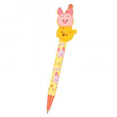 Japan Disney Tsum Tsum Rubber Black Ball Pen - Pooh & Piglet