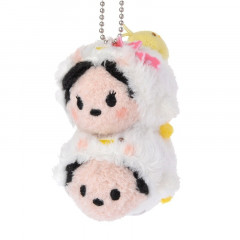 Japan Disney Tsum Tsum Pair Plush Keychain - 2017 New Year Mickey & Minnie