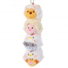 Japan Disney Tsum Tsum Pair Plush Keychain - 2017 New Year Winnie the Pooh & Friends