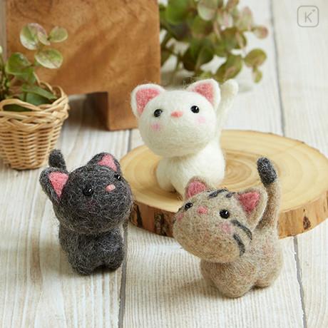 Japan Hamanaka Wool Needle Felting Kit - Cute Cats Buddy - 1