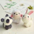 Japan Hamanaka Wool Needle Felting Kit - Cute Animal Buddy Panda Sheep Rabbit - 1
