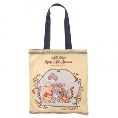 Japan Disney Eco Shopping Bag - Winnie the Pooh Friends Hug & Smile
