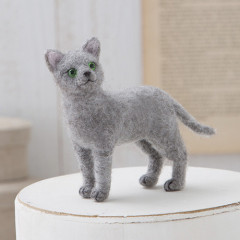 Japan Hamanaka Aclaine Needle Felting Kit - Russian Blue Cat
