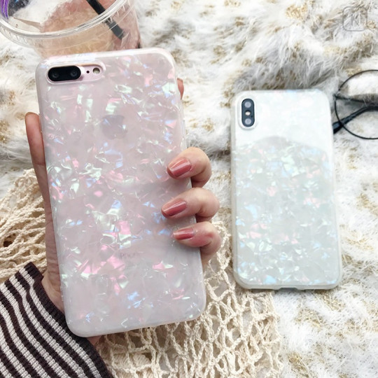 White Shell Holographic Phone Case - iPhone 7 Plus & iPhone 8 Plus - 1