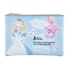 Japan Disney Zipper Pouch Coin Wallet & Pocket Tissue Holder - Alice Charming Blue