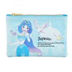 Japan Disney Zipper Pouch Coin Wallet & Pocket Tissue Holder - Jasmine Charming Blue