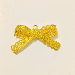 Circle Key Jewelry Charm - Gold Lace Ribbon