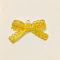 Circle Key Jewelry Charm - Gold Lace Ribbon - 1