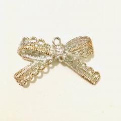 Circle Key Jewelry Charm - Silver Lace Ribbon