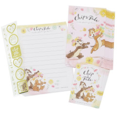 Japan Disney Letter Envelope Set - Chip & Dale Flower