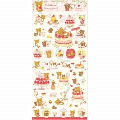 Japan San-X Rilakkuma Bear Seal Sticker - Strawberry Cake Party