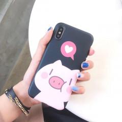 Cute Couples Piggy Black Phone Case - iPhone Xs Max