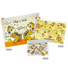 Japan Disney Zip Folder File Set 3 Size - Chip & Dale Double Trouble
