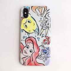 Little Mermaid Ariel & Flounder Watercolor Comic Phone Case - iPhone Xs Max