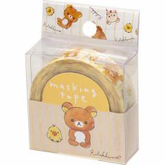 San-X Japanese Washi Paper Masking Tape - Rilakkuma Bear White Stripe 15mm × 12m