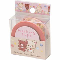 San-X Japanese Washi Paper Masking Tape - Rilakkuma Bear Pink Garden 15mm × 12m