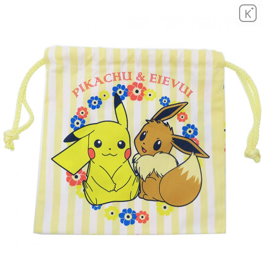 Japan Pokemon Drawstring Bag - Pikachu & Eevee - 1