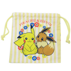 Japan Pokemon Drawstring Bag - Pikachu & Eevee