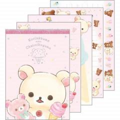 Japan Rilakkuma A6 Notepad - Korilakkuma & Chairoikoguma Ice Cream Pink