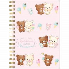 San-X Rilakkuma Notebook - Korilakkuma & Chairoikoguma Ice Cream Pink