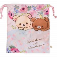 Japan Rilakkuma Drawstring Bag - Korilakkuma meets Chairoikoguma Pink