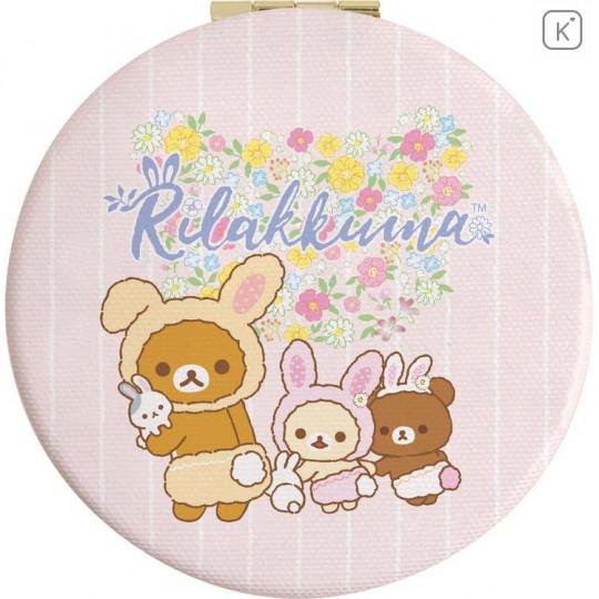 Japan San-X Rilakkuma Hand Mirror - Easter Rabbit Pink - 1